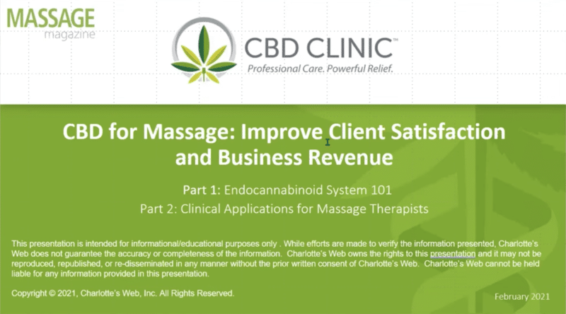 webinar on CBD for massage therapists for results and revenue